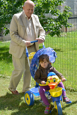 50 to 55 years old: grandfather rides  granddaughter on the childrens bicycle Stock Photo