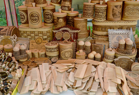 made russia: Sale of wooden and birch bark economic products Editorial