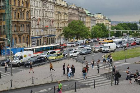 brisk: Czech Republic, Prague. View of the brisk street
