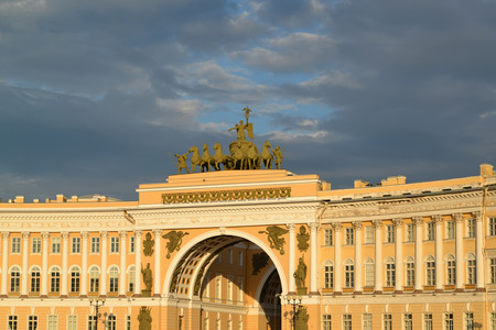 The arch of the General Staff Building shined with beams of the coming sun, St. Petersburg