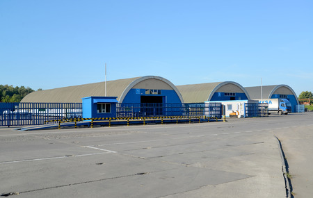 Hangars in the territory of a modern warehouse