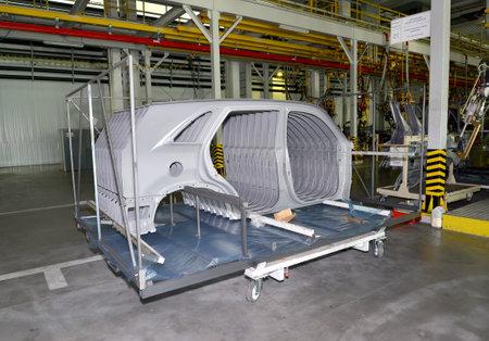 Car body sidewalls in welding shop of the automobile enterprise Editorial
