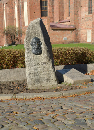 memorable: Memorable sign to the German public figure Julius Rupp (1809-1884) in Kaliningrad