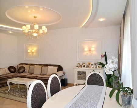 classics: Drawing room interior in light tones, modern classics