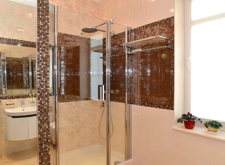 Bathroom interior, shower cabin photo