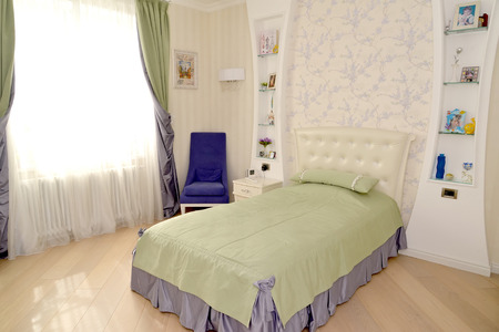 Childrens bedroom in light tones. Modern classics with rococo elements