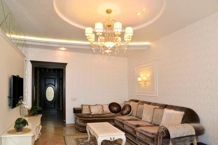 Drawing room interior in light tones, modern classics photo