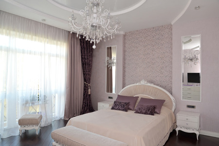 Bedroom in light tones. Modern classics with rococo elements photo