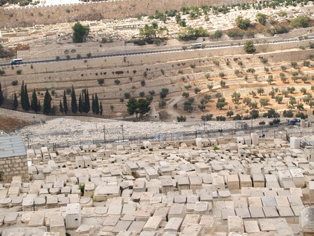 Gravestones of an ancient Jewish cemetery on the mount of Olives. Jerusalem, Israel