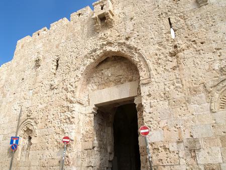 serf: A wall of Abbey Dormitsion on the Mount Zion. Israel, Jerusalem