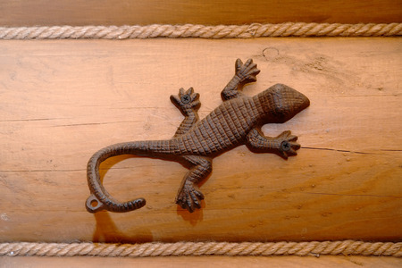 wood molding: Metal hanger with a hook in the form of a lizard on a timbered wall