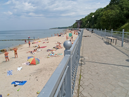 pioneer: Promenade and the city beach on the bank of the Baltic Sea. City Pioneer, Kaliningrad region