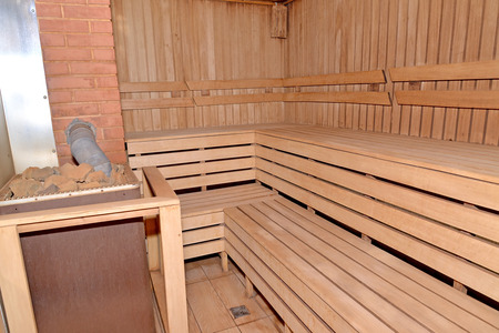 stove pipe: Sauna interior with the furnace
