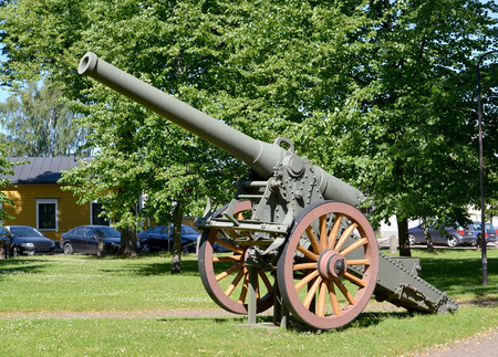 155-mm French gun of model K 77 of a sample of 1877. The museum of Academy of reserve officers in the city of Hamin, Finland