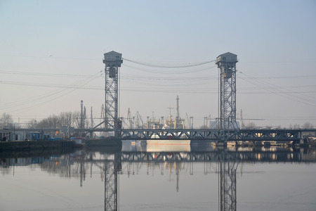 movable bridge: View of a two-story movable bridge through the Pregolya River. Kaliningrad