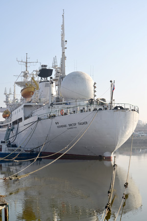 View of a stern of the Astronaut Victor Patsayev research vessel. Kaliningrad