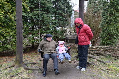 50 to 55 years old: The grandfather with the granddaughter shake on a swing, the young man costs nearby. The family
