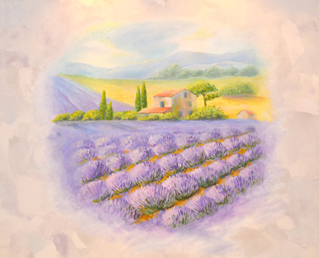 provence: Fields of the blossoming lavender in Provence. A list on a room wall, acrylic paints