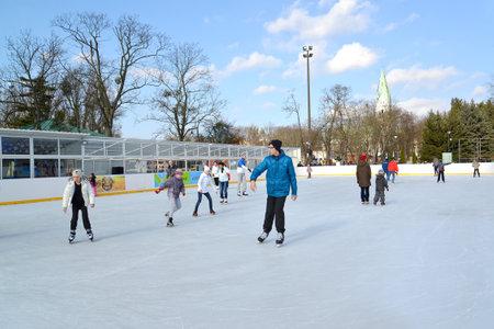 skating rink: People ride a skating rink