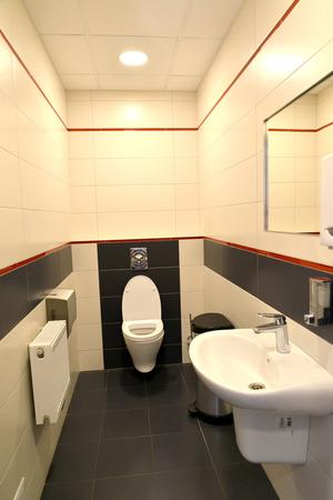 tones: Interior of a public toilet in light tones