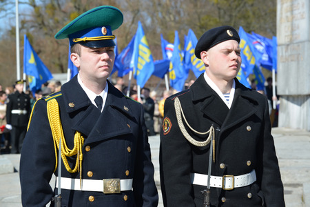 infantryman: KALININGRAD, RUSSIA - APRIL 09, 2015: A guard of honor on celebration of the 70 anniversary of storm of Konigsberg