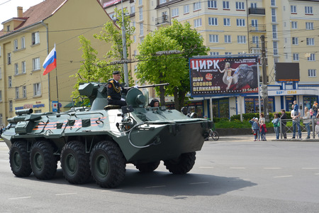 infantryman: KALININGRAD, RUSSIA - MAY 09, 2015: An armored troop-carrier-82А (BTR-82A) of marines after parade in honor of the Victory Day