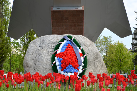assigned: KALININGRAD, RUSSIA - MAY 09, 2015: A monument fragment to Pilots of Baltic in the Victory Day Editorial