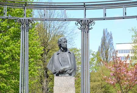poet: KALININGRAD, RUSSIA - MAY 02, 2015: Monument to the poet A.S. Pushkin