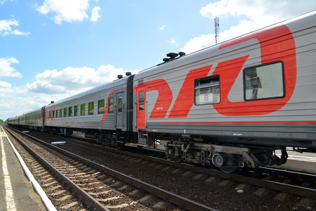 cross ties: The passenger train costs on railway tracks. Russian Railways