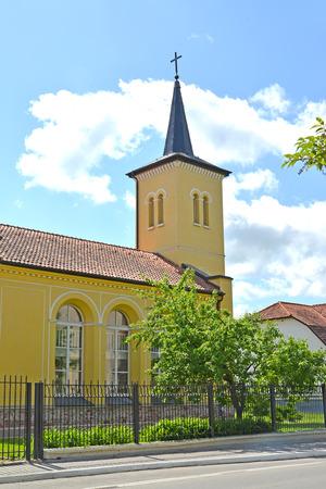 lutheran: Salzburg Lutheran church. City Gusev, Kaliningrad region Stock Photo