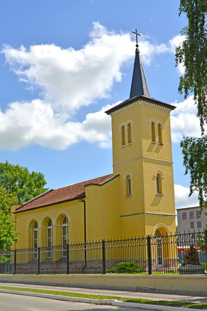 gusev: Chiesa luterana Salisburgo. Citt� Gusev, regione di Kaliningrad Archivio Fotografico