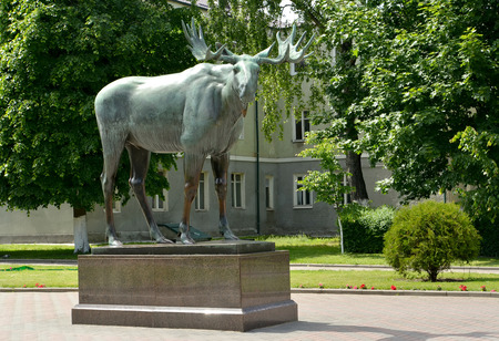 gusev: An elk sculpture in the square Stock Photo