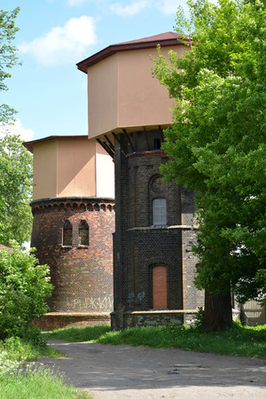 gusev: Two railway water towers (1890 and 1907). City Gusev, Kaliningrad region