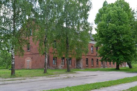 gusev: Il vecchio edificio gettata della costruzione tedesca in citt� Gusev, regione di Kaliningrad Archivio Fotografico