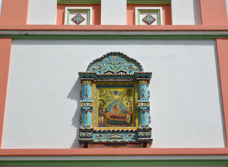 gusev: Icon of the Dormition of the Theotokos on a temple wall. City Gusev, Kaliningrad region
