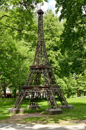 d'eiffel: The model of the Eiffel Tower in city park