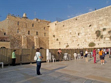 serf: JERUSALEM, ISRAEL - 09 OCTOBER, 2012: Prayers at the Wailing Wall