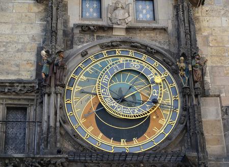 chiming: Astronomical clock on the Staromestsky town hall, the Prague chiming clock. Prague, Czech Republic Stock Photo