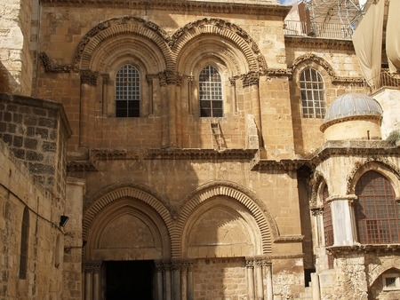 lord's: Fragment of a facade of Church of the Resurrection (the temple of the Lords Coffin) in Jerusalem, Israel