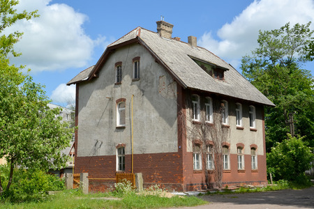 gusev: Old house of the German construction on Stantsionnaya Street. City Gusev, Kaliningrad region Editoriali