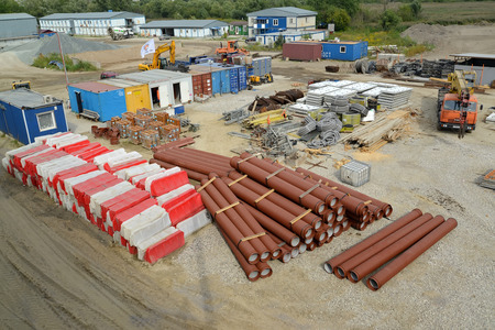 KALININGRAD, RUSSIA - AUGUST 24, 2015: Temporary warehouse of storage of construction products and materials