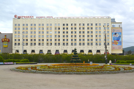 the meridian: MURMANSK, RUSSIA - JULY 17, 2015: The view of Meridian congress hotel and the area is Five Corners Editorial