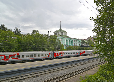 polar station: MURMANSK, RUSSIA - JULY 17, 2015: A view of the Murmansk railway station from rails Editorial