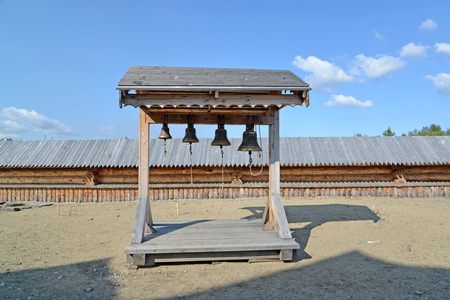 serf: Wooden belfry in the territory of the Sacred and Troitsk Trifonov-Pechengsky mans monastery Stock Photo