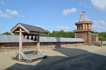 serf: Wooden belfry and watchtower in the territory of the Sacred and Troitsk Trifonov-Pechengsky mans monastery Stock Photo