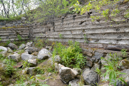 pillbox: Ruins of an old German PILLBOX of times of World War II, Murmansk region