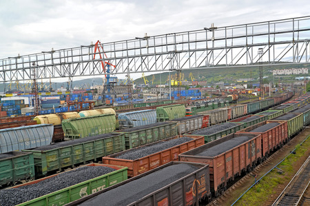polar station: Cargo trains with coal stand Murmansk at railway station