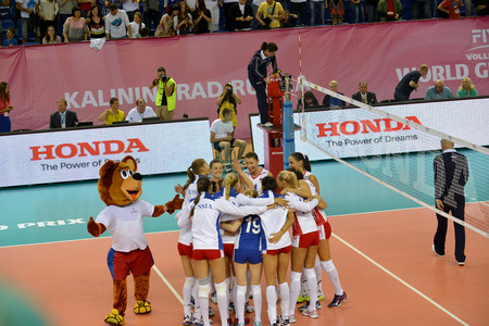 the national team: KALININGRAD, RUSSIA - AUGUST 15, 2014: The womens national team a team of Russia on volleyball rejoices to a victory. The world Grand Prix on volleyball of 2014 among womens teams, a group tournament Editorial