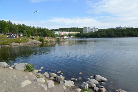 View of the coast of the Semenovsky lake. Murmansk