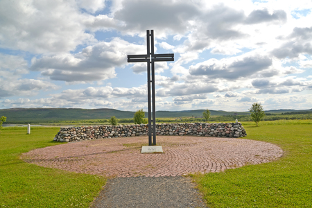 memorable: Memorable cross on a Russian-German memorial cemetery. Settlement of Pechenga, Murmansk region Stock Photo
